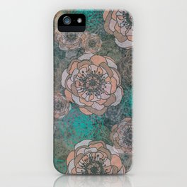 Peony Flowers Peach and Green iPhone Case