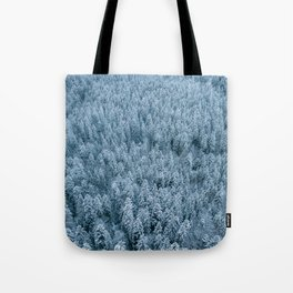 Winter pine forest aerial - Landscape Photography Tote Bag