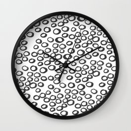 Hand painted monochrome rings pattern Wall Clock