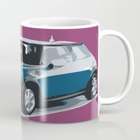 mini cooper Mugs featuring blue mini cooper beautiful gift for christmas by Acus