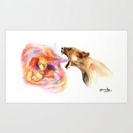 Lioness' Fury Art Print