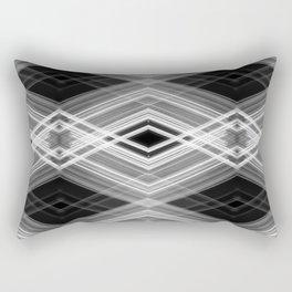 Technologic - White on Black Minimalist Geometric Art Rectangular Pillow