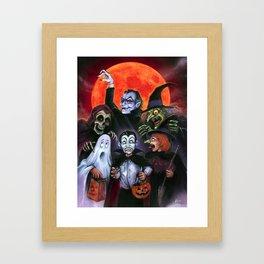 Halloween Kids meet the Monsters Framed Art Print