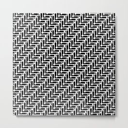 Black and White Zigzag Pattern Metal Print