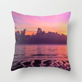 Spectacular South Pacific Sunset Near Huahini Island, Tahiti Throw Pillow