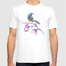bluebird on magnolia White MEDIUM Mens Fitted Tee
