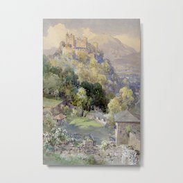 Overlooking the Hohenwerfen Fortress in Salzburg by Edward Theodor Compton Metal Print