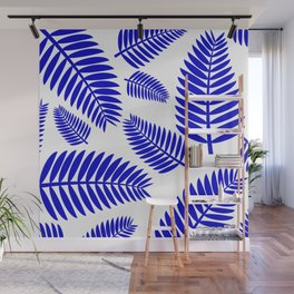 Blue Leaves Ferns Pattern Wall Mural