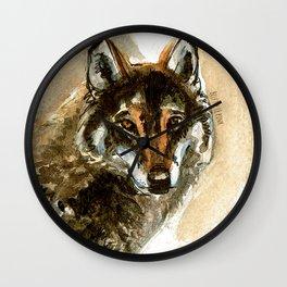 Iberian wolf watercolor Wall Clock