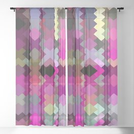 geometric square pixel pattern abstract in purple pink yellow Sheer Curtain