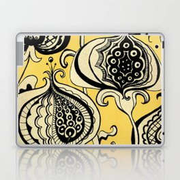 Black and Yellow Floral Laptop & iPad Skin