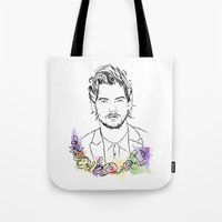 louis tomlinson Tote Bags featuring Louis Tomlinson by Mariam Tronchoni