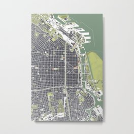 Buenos aires city map engraving Metal Print