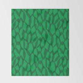 Overlapping Leaves - Dark Green Throw Blanket