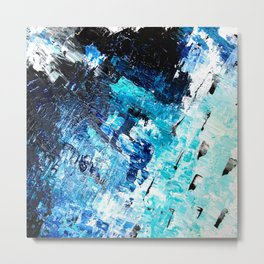 Under the sea | modern abstract hand painted blue turquoise acrylic painting Metal Print