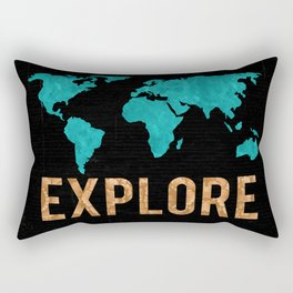 World Map - Teal and Copper Explore Globe Rectangular Pillow