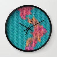 japan Wall Clocks featuring Japan by JR Schmidt