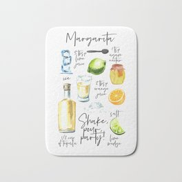 Margarita Recipe Watercolor Illustration Bath Mat