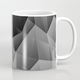 Metal sharp pattern of chaotic black and white fragments of glass, foil, highlights silver ingots. Coffee Mug