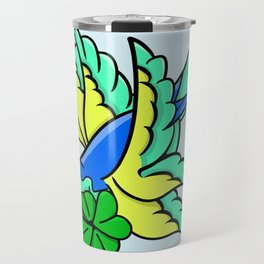 Swallow With Lucky Four Leaf Clover Travel Mug