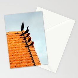 Birds Congregate on the Roof Stationery Cards