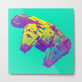 Pop Millennium Falcon On Mint Metal Print