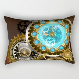 Unusual Clock with Gears ( Steampunk ) Rectangular Pillow
