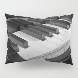 Keyboard of a black piano - 3D rendering Pillow Sham