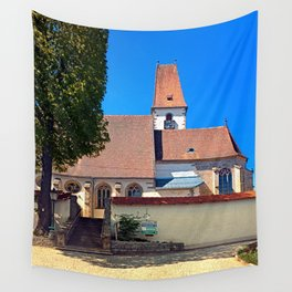 The village church of Hirschbach Wall Tapestry