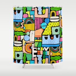 Color Block Collage Shower Curtain