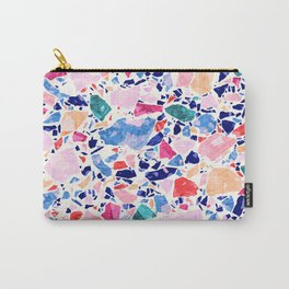Terrazzo Crystals / Mineral Texture in Blue, Pink and Turquoise Carry-All Pouch