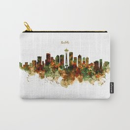 Seattle Watercolor Skyline Poster Carry-All Pouch
