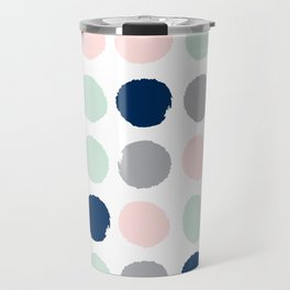 Trendy color palette minimal painted dots polka dot minimalist pink mint grey navy Travel Mug