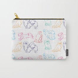 Colourful Tibetan Spaniel Minimalist Outline Pattern Carry-All Pouch