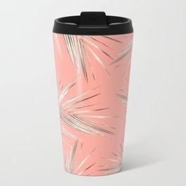 White Gold Palm Leaves on Coral Pink Metal Travel Mug
