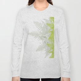 PALE GREEN & GREY ABSTRACT WOODLAND FERNS ART Long Sleeve T-shirt