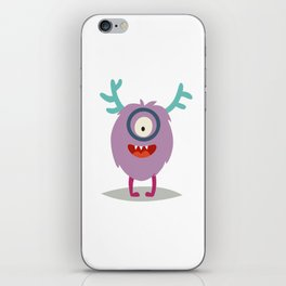 Emoji smart monster. Cute clever cyclop vector illustration iPhone Skin
