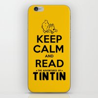 tintin iPhone & iPod Skins featuring Keep Calm and Read Tintin by Rafstar Designs