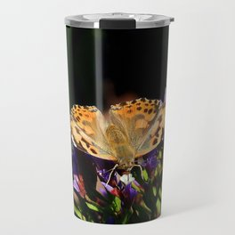 Painted Lady on Statice Blooms Travel Mug