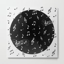 Music White and Black Metal Print
