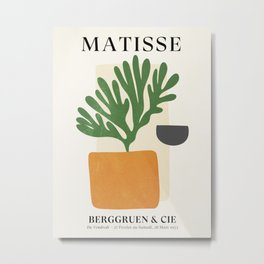 Bronze Vase & Leaves: Matisse Edition | Mid Century Series Metal Print