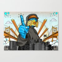 graffiti Canvas Prints featuring Graffiti by Helen Kaur