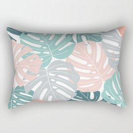 Tropical Leaves Monstera deliciosa Rectangular Pillow