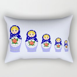 Blue russian matryoshka nesting dolls Rectangular Pillow