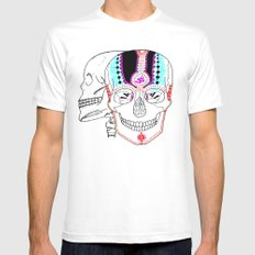 Rainbow Skulls Mens Fitted Tee White SMALL