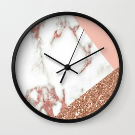 Marble - pink and gold Wall Clock