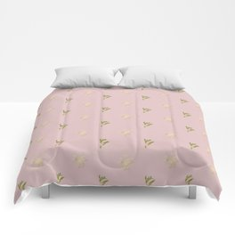 Modern blush pink green yellow gold floral leaves Comforters