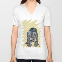 r2d2 V-neck T-shirts featuring R2D2 by Rebecca Bear