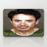 robert downey jr iPad Cases featuring Robert Downey Jr. Mugshot by Neon Monsters