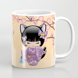 Japanese Neko Kokeshi Doll V2 Coffee Mug